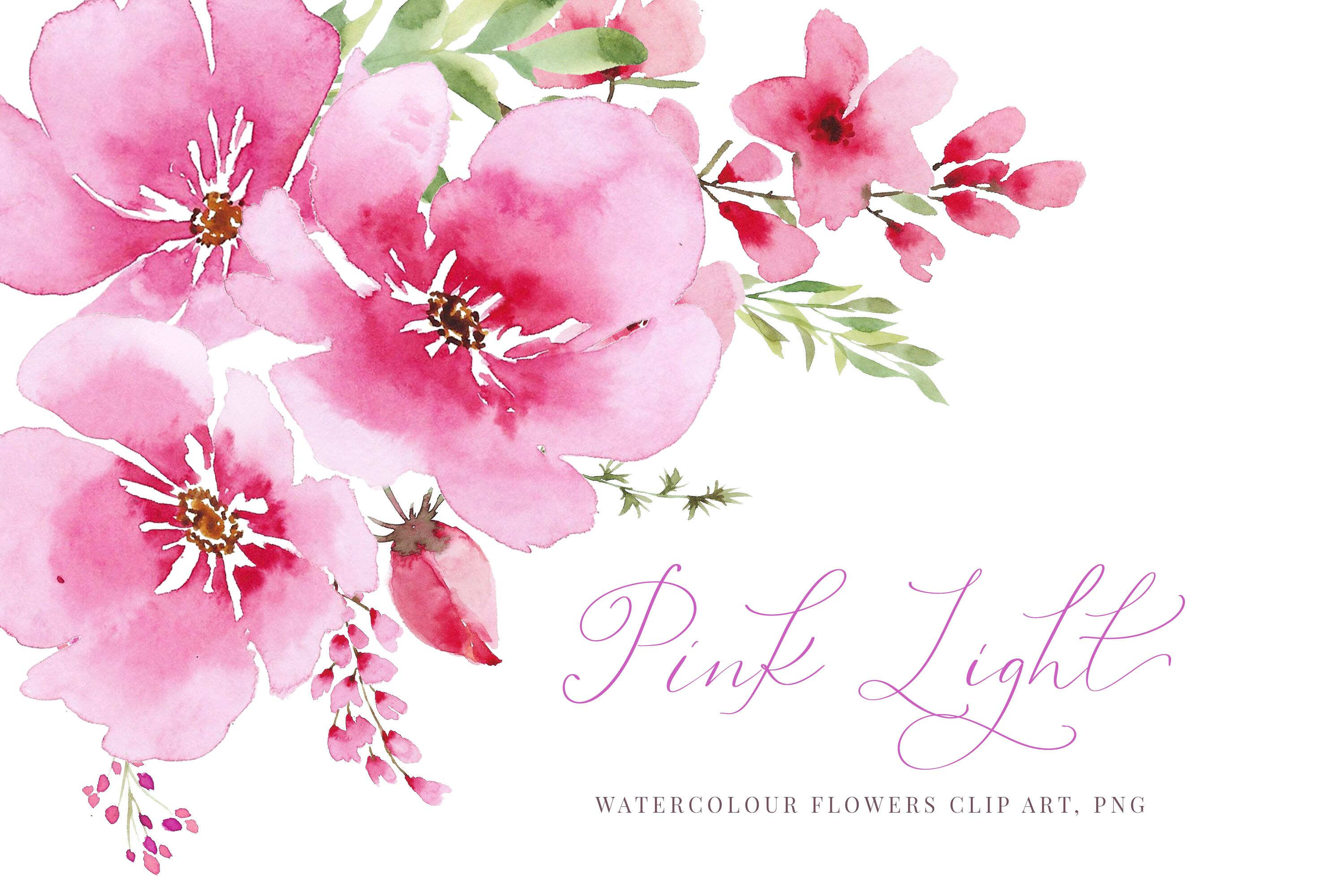 Watercolour Pink Flowers And Greenery Wedding Clipart By