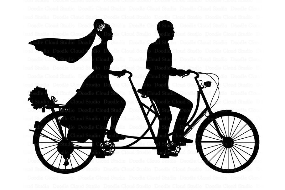 Wedding Tandem Bike Bride And Groom Svg Black Couple Svg By