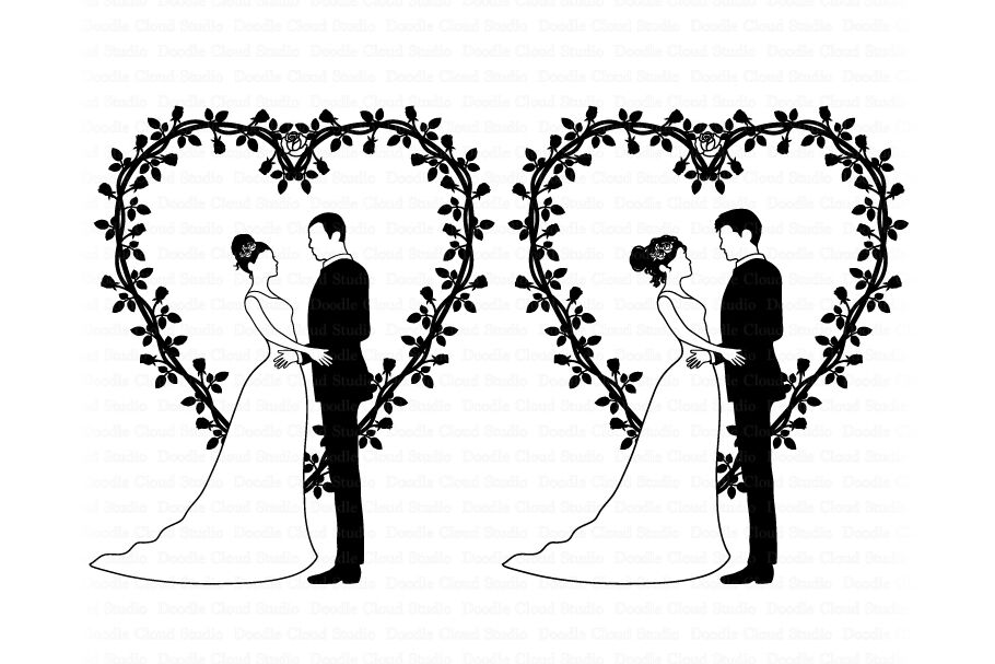 Wedding Couples Svg Bride And Groom Svg Wedding Heart Clipart
