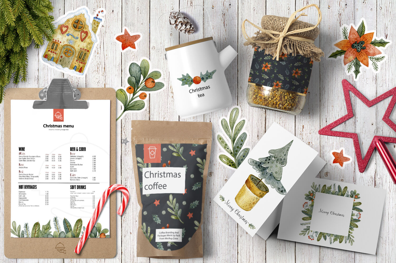 Christmas Watercolor Set By By Anna Sokol Thehungryjpeg Com