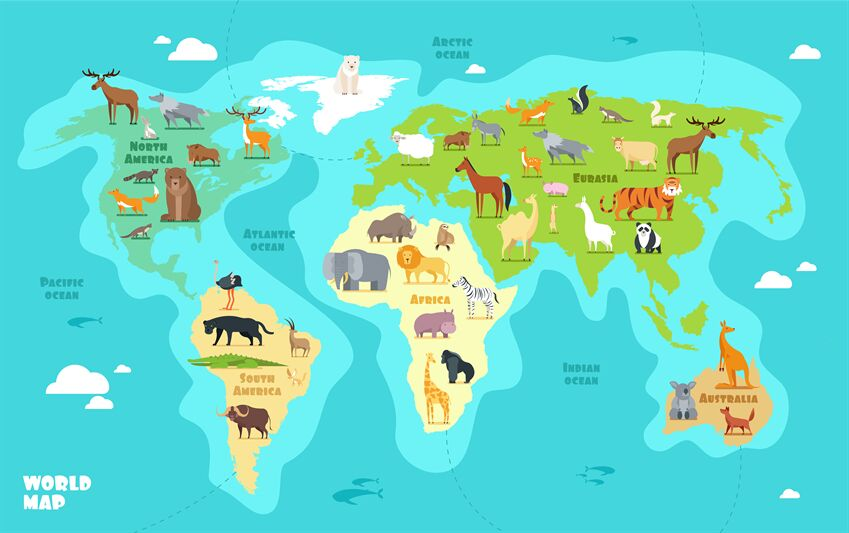 Cartoon World Map With Animals Oceans And Continents Funny