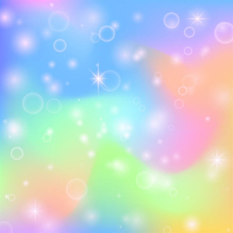 Fairy Princess Rainbow Cute Background With Magic Stars And