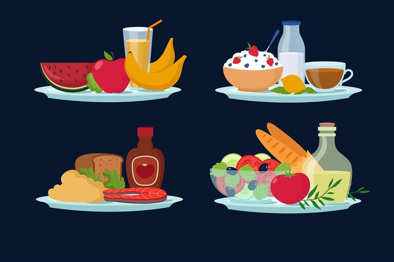 Daily Diet Meals Healthy Food For Breakfast Lunch Dinner
