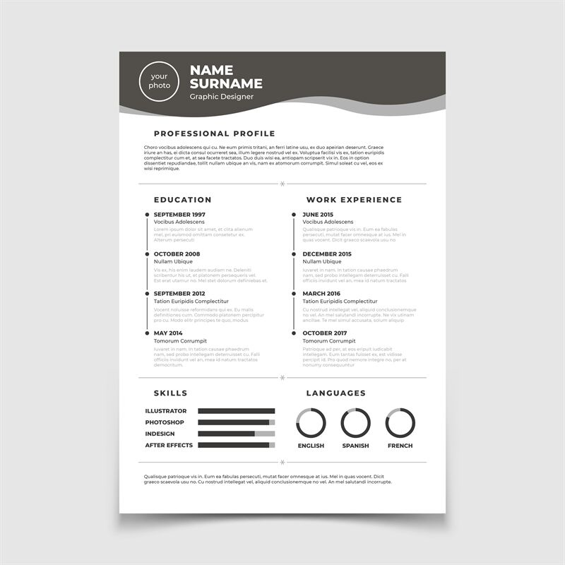 Cv resume  Document for employment interview  Vector