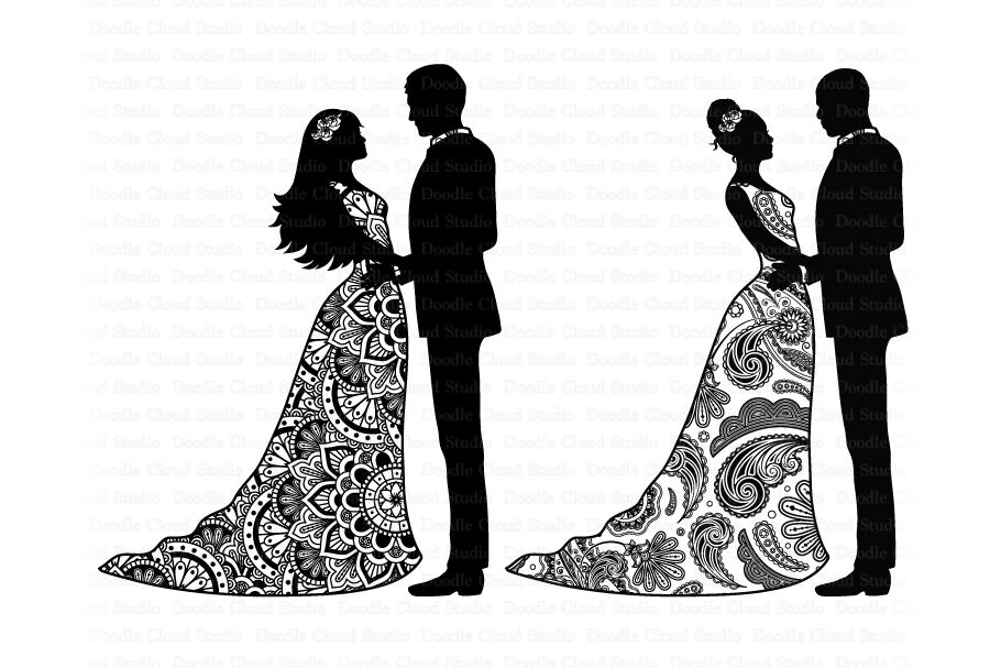 Wedding Mandala SVG, Mandala Bride and Groom SVG, Wedding