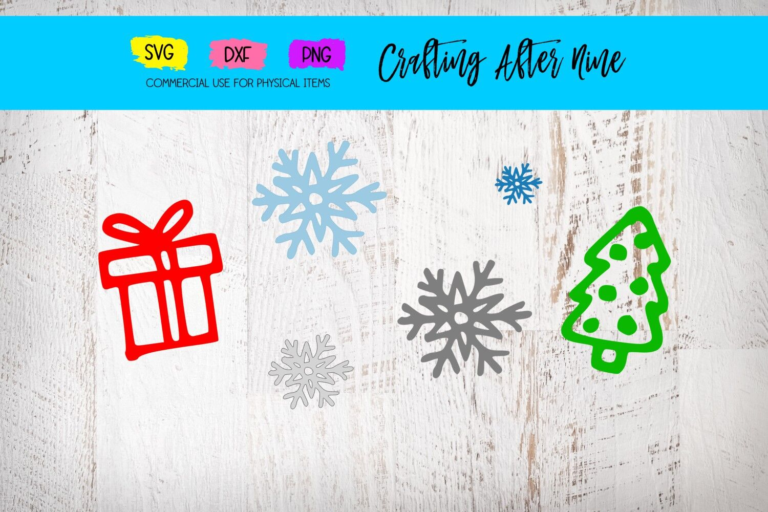 Holiday Symbols Christmas Sign Snowflakes Present Svg Dxf Png