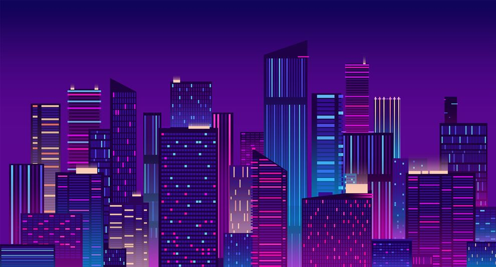 Night City Colorful New York Urban Background Modern Cityscape