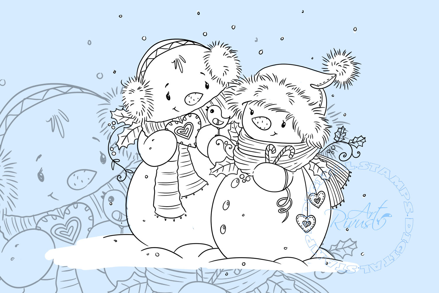 Digital Stamp Download Christmas Digi Stamp Cute Snowman