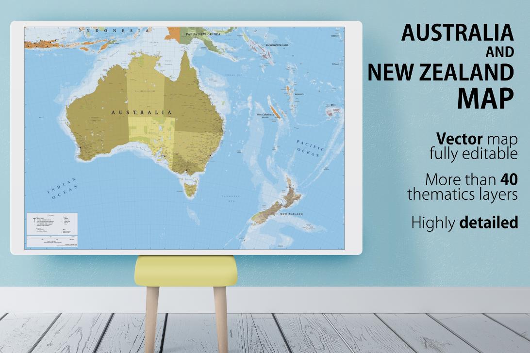 Australia And New Zealand Map By Cartorical Thehungryjpeg Com