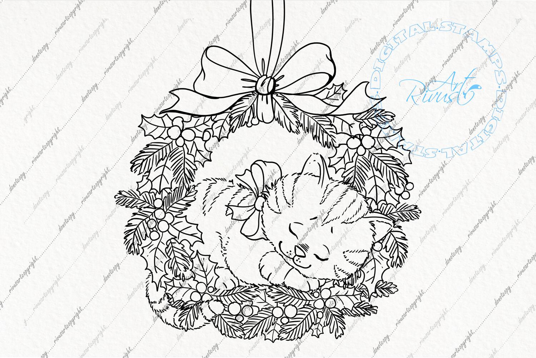 Digital Stamp Download Christmas Digi Stamp Cute Kitten In