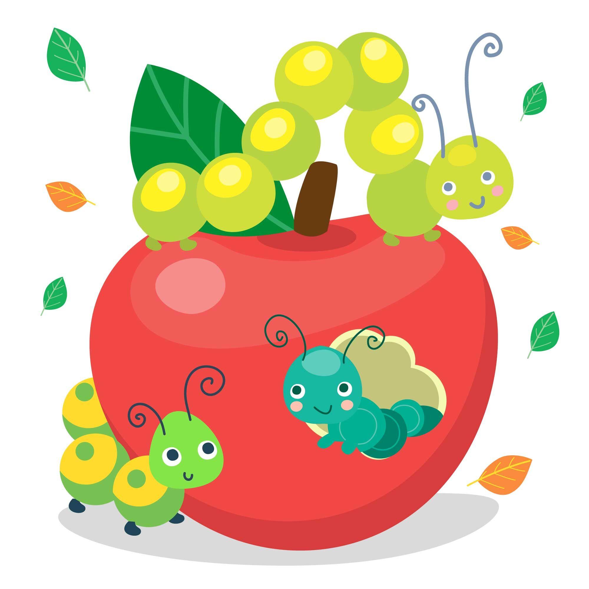 Cartoon Caterpillar Vector Cute Set By Nesterova S Shop