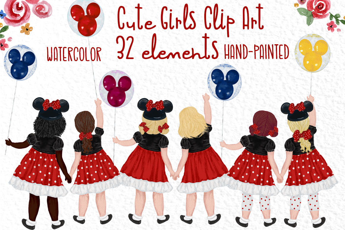 Cute Little Girls Besties Clipart Disney Trip Clipart By