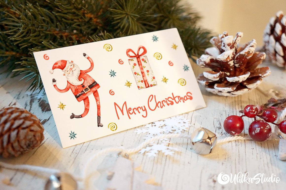 Happy Santa Claus Christmas Watercolor Clipart By Ulitkastudio