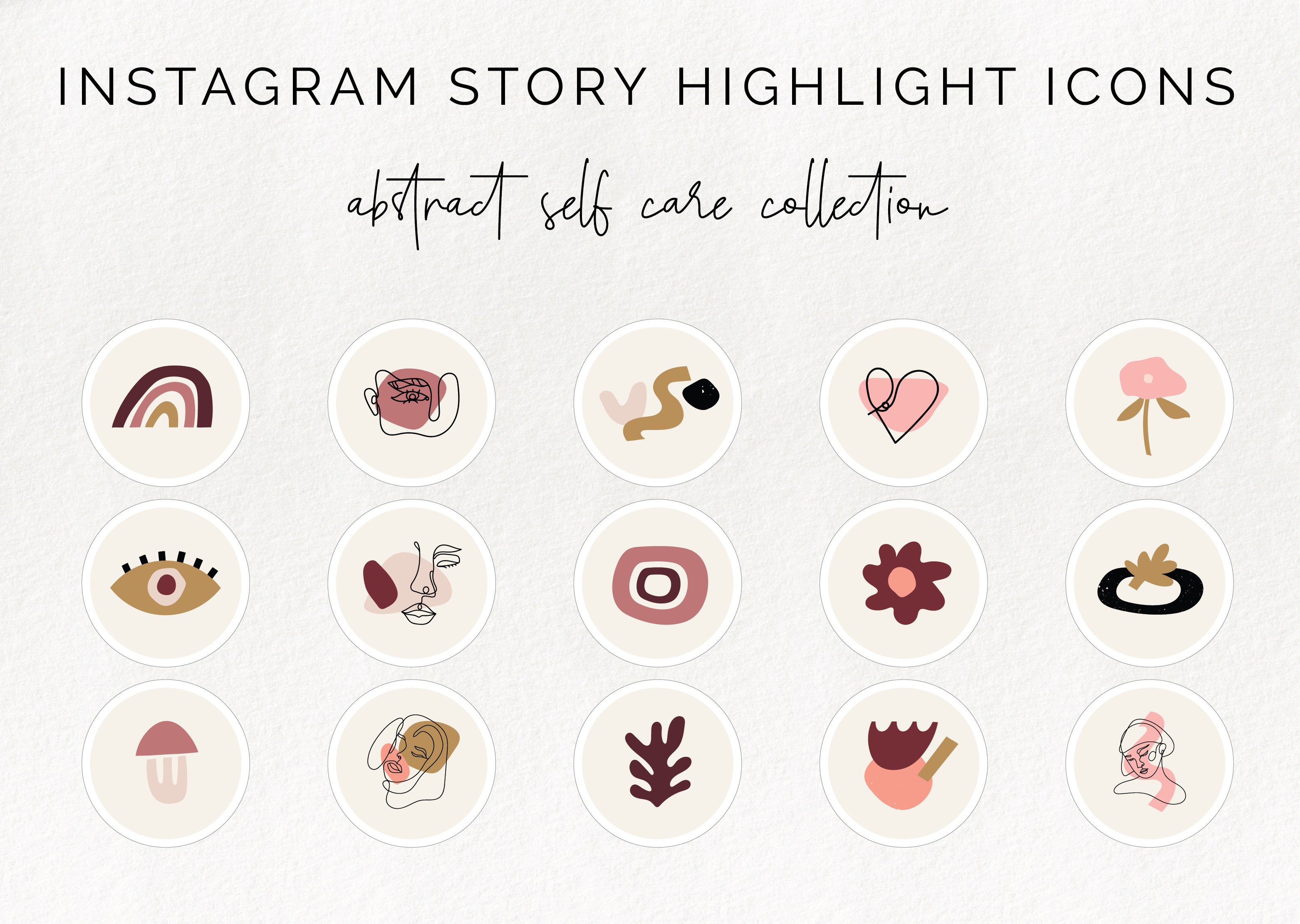 15 Instagram Story Highlight Icons Abstract Blush Collection By