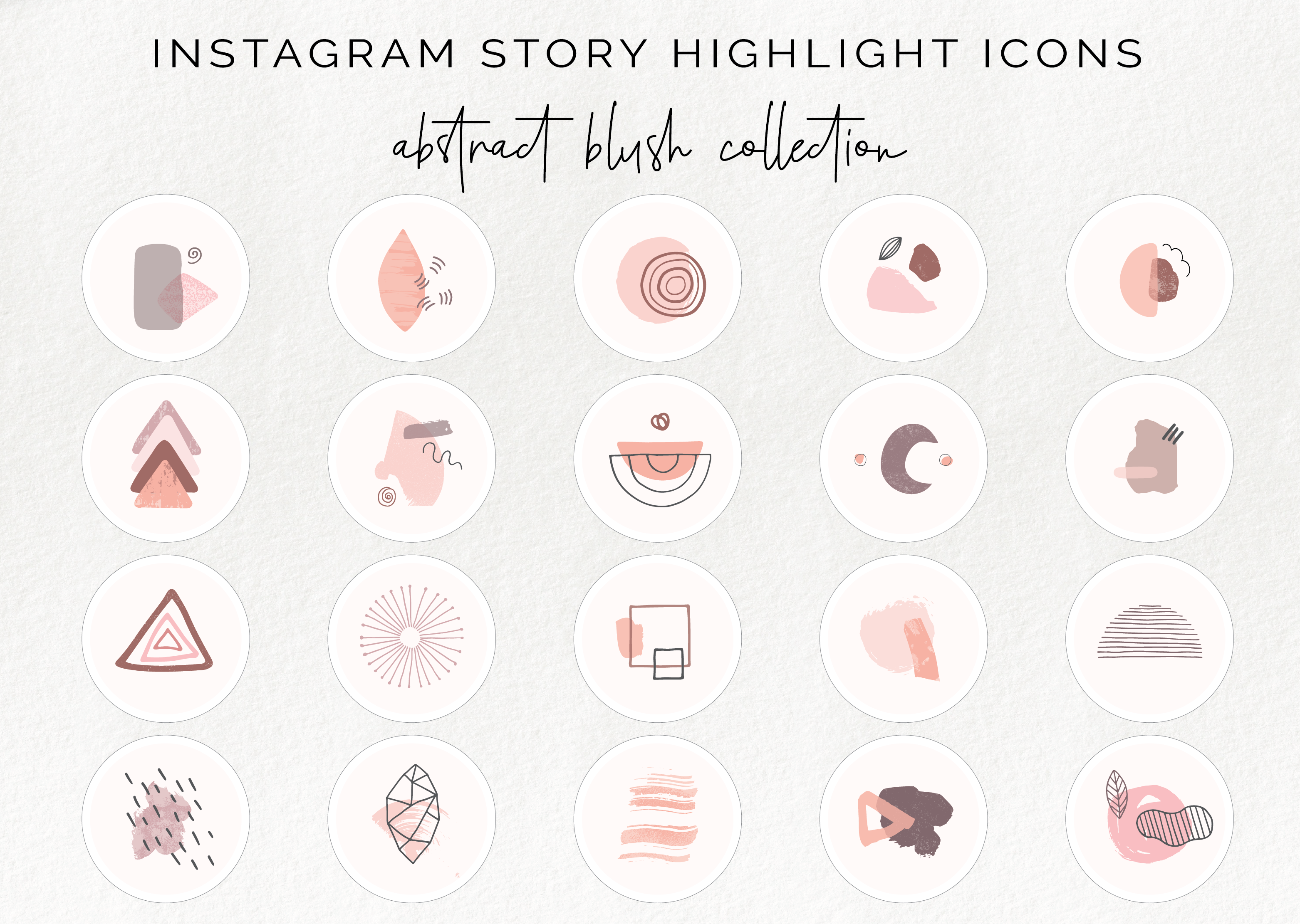 20 Instagram Story Highlight Icons Abstract Blush Collection By