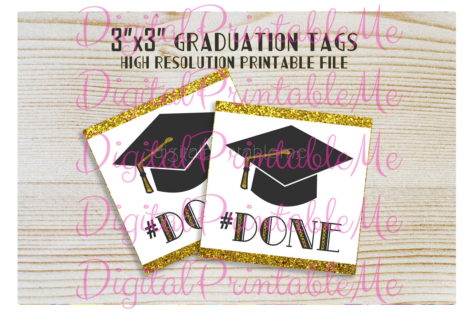 Graduation Tags Done Party Favor Gift Bag Graduate Graduation Cap