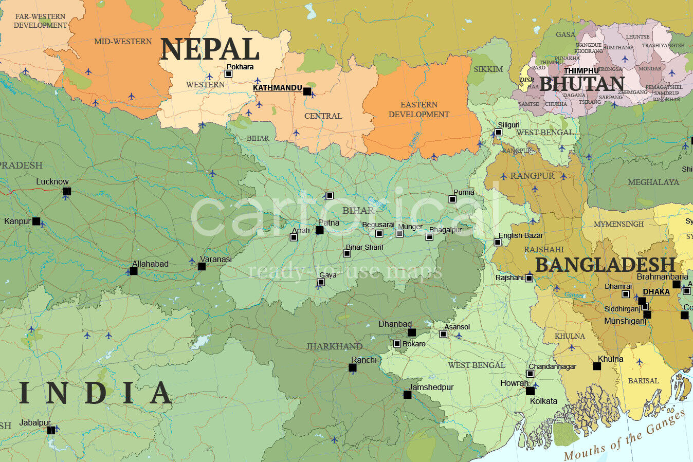 Map Of South Asia And Near East By Cartorical Thehungryjpeg Com