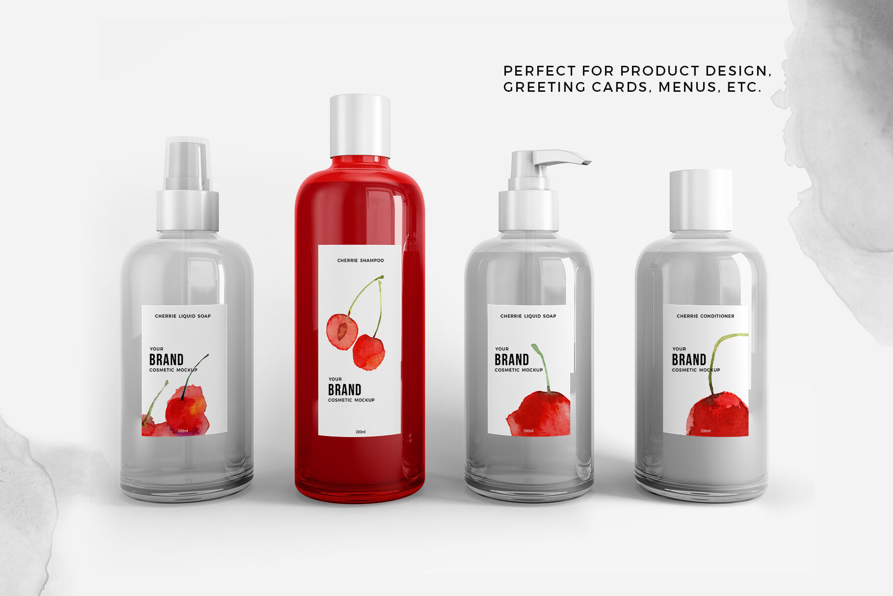 Red Liquid Soap Bottle With Pump Mockup Front View