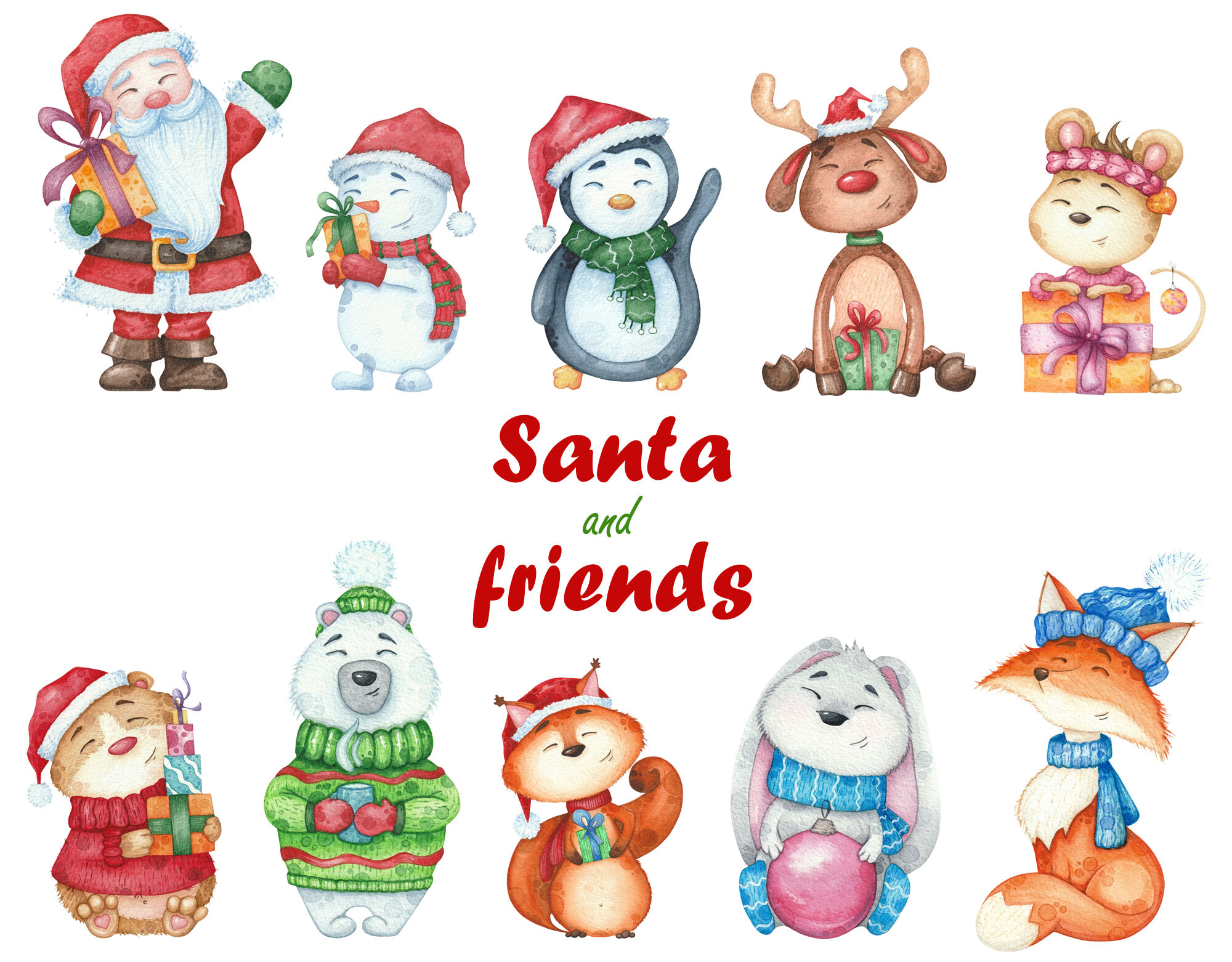 Watercolor Christmas Set Characters Clipart Illustrations Santa