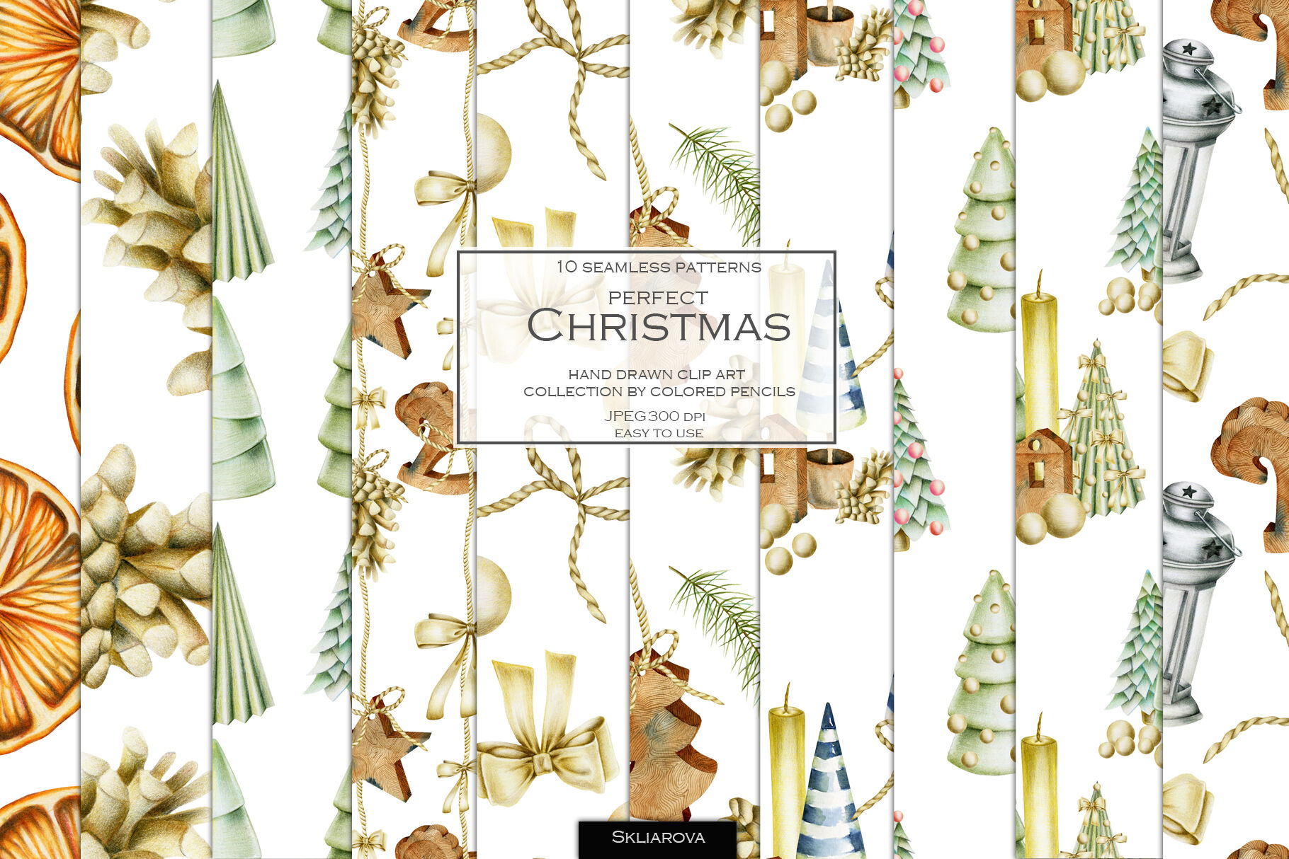 Perfect Christmas 10 Seamless Patterns By Happywatercolorshop