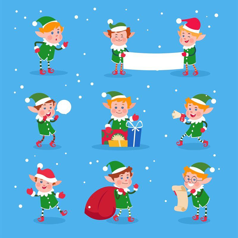 Christmas Elf Baby Elves Santa Claus Helpers Funny Winter Dwarf