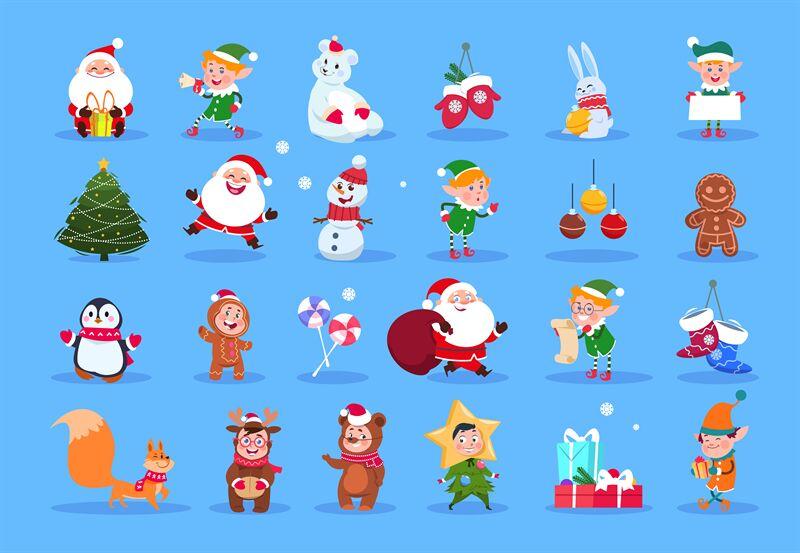 Winter Characters Cartoon Santa Elves And Winter Christmas