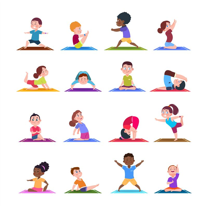 Children In Yoga Poses Cartoon Fitness Kids In Yoga Asana Vector Cha By Microvector Thehungryjpeg Com