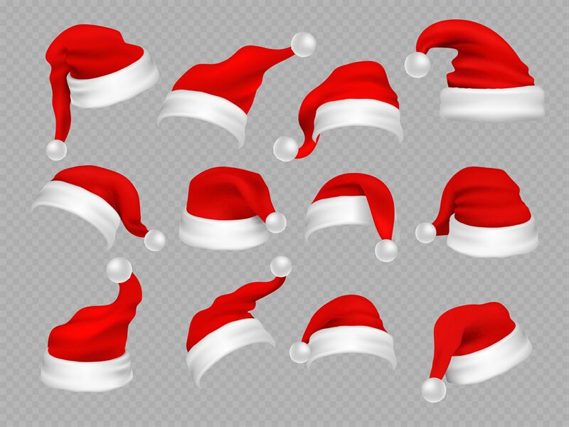 Big Set Of Realistic Santa Hats Isolated On Transparent Background