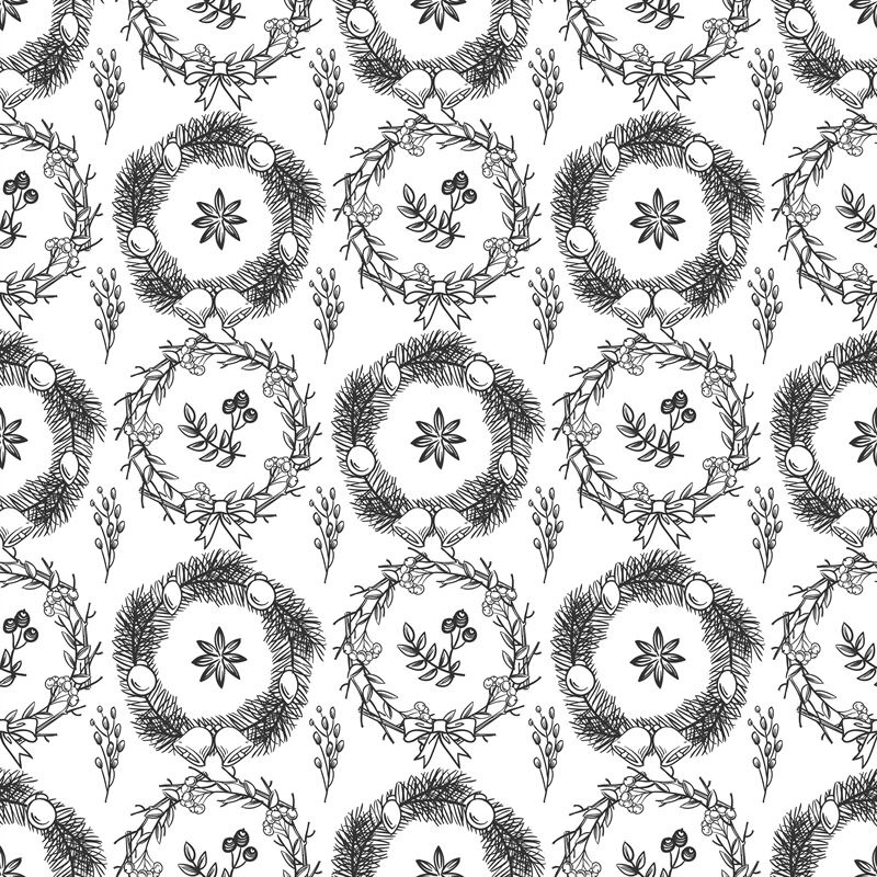 Hand Drawn Christmas Decorations Seamless Pattern Background By