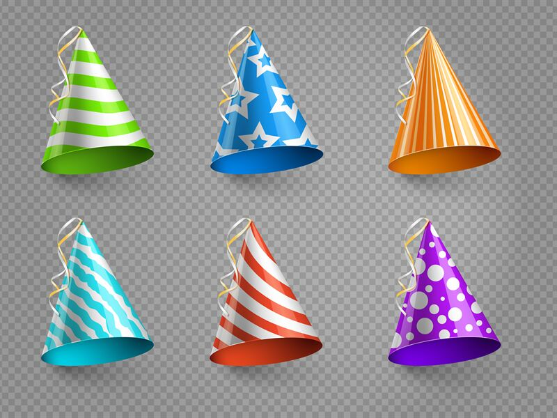 Realistic Party Hats Vector Set Isolated On Transparent Background