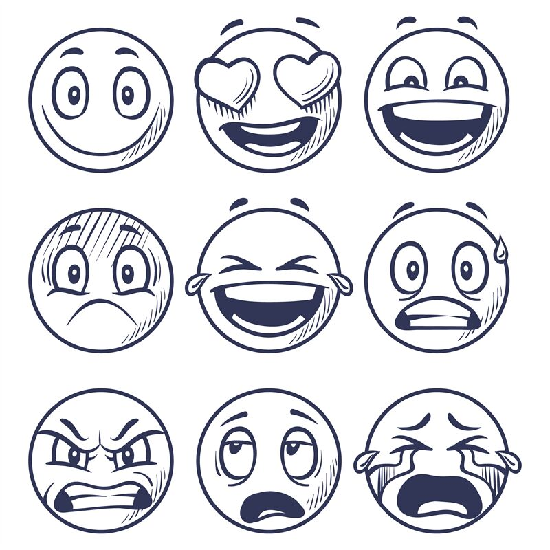 Sketch Smiles Doodle Smiley In Different Emotions Hand Drawn