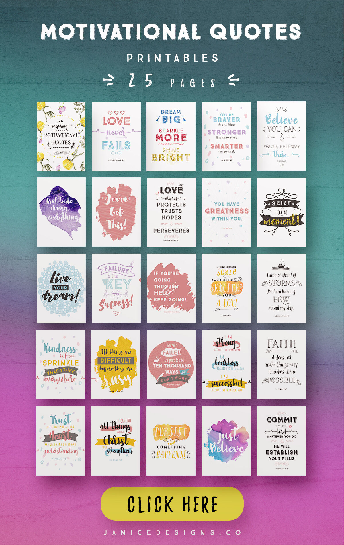 Motivational Quotes Printables 25 Pages By Janice Designs