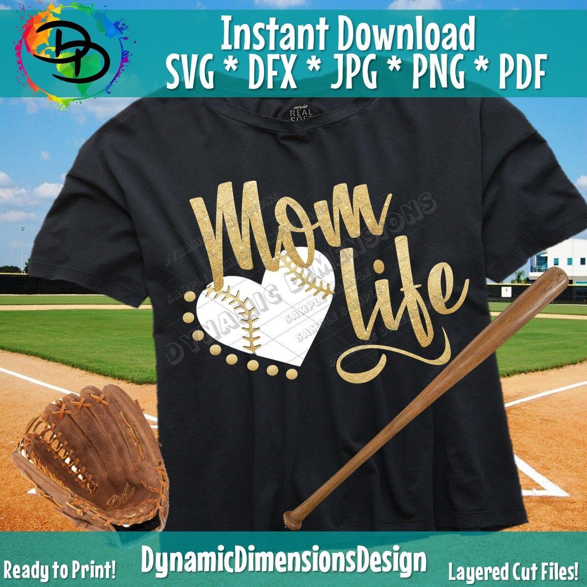 Baseball Mom Svg Mom Life Svg Baseball Svg Png Dxf Mom Shirt
