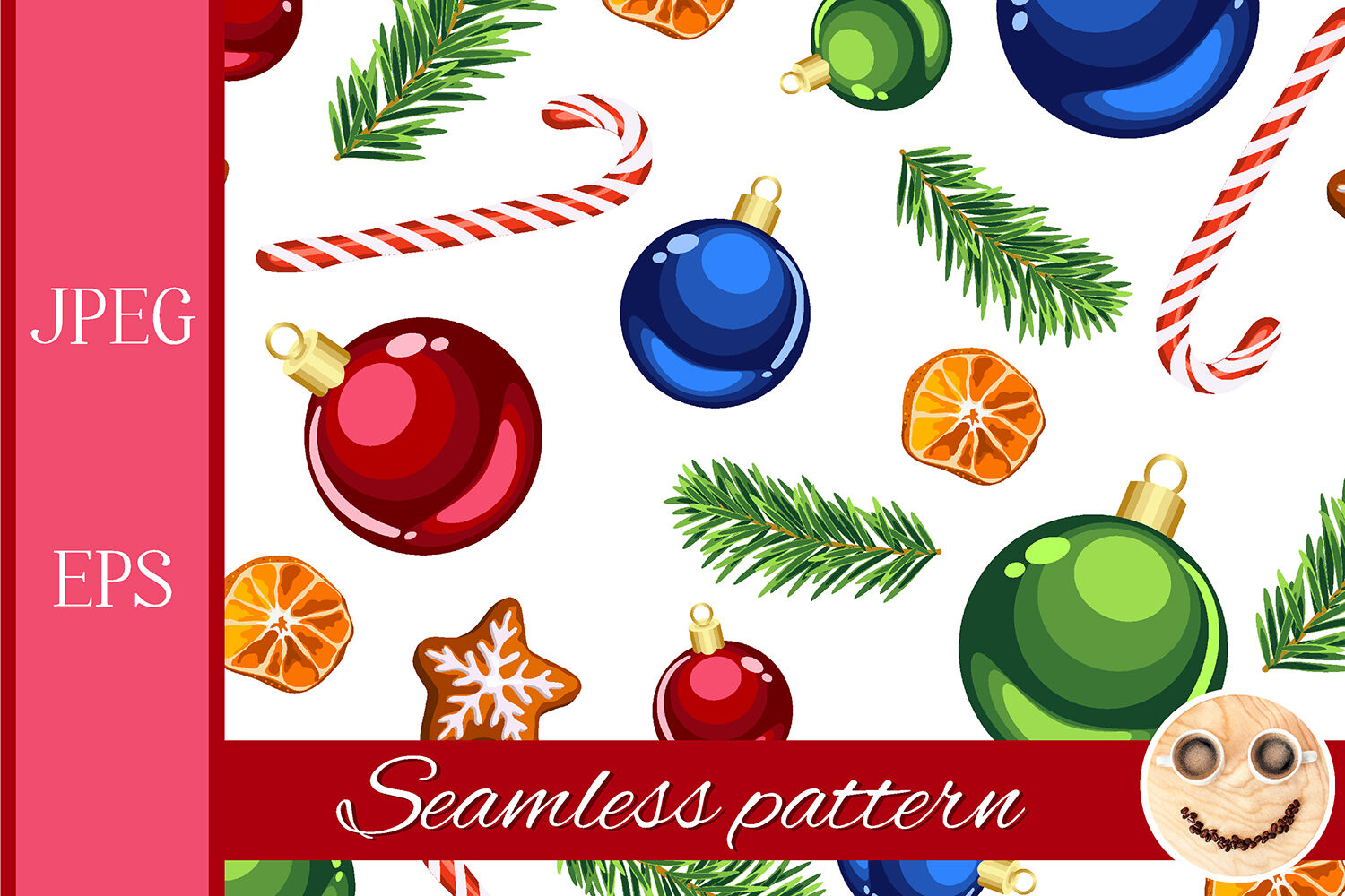 Christmas Ornaments And Candy Canes Seamless Pattern By Tasipas