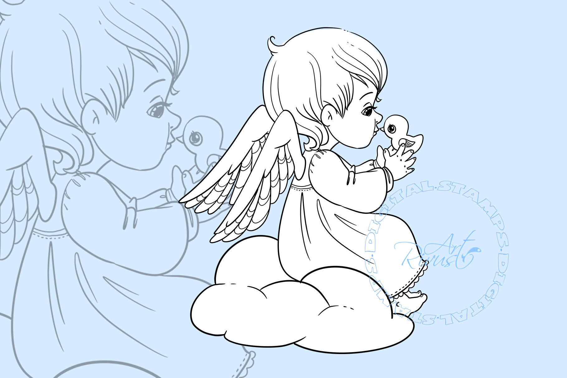 Angel Digital Stamp Cute Christmas Digi Stamp Download Coloring