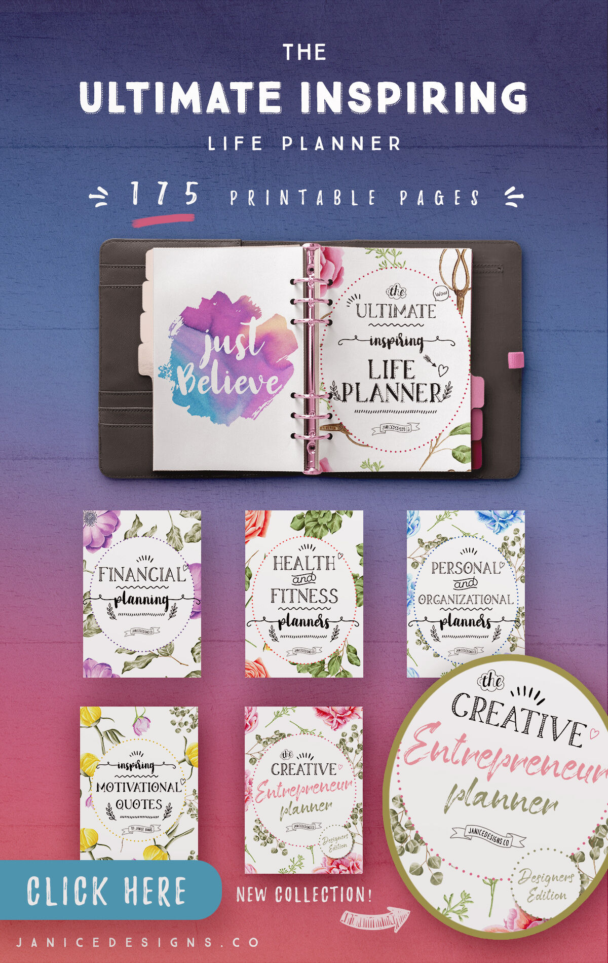 Ultimate Inspiring Life Planner 175 Pages By Janice Designs