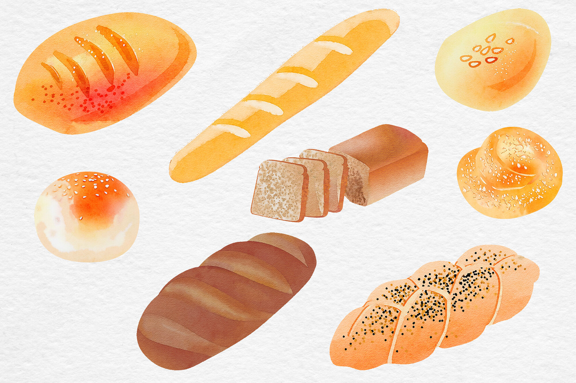 Watercolor Bread Clipart By North Sea Studio Thehungryjpeg Com