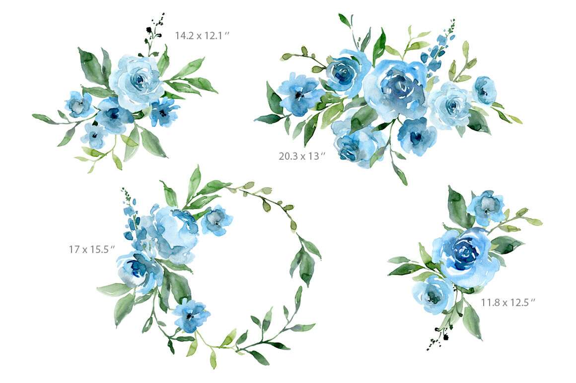 Blue Watercolor Flowers And Green Leaves By