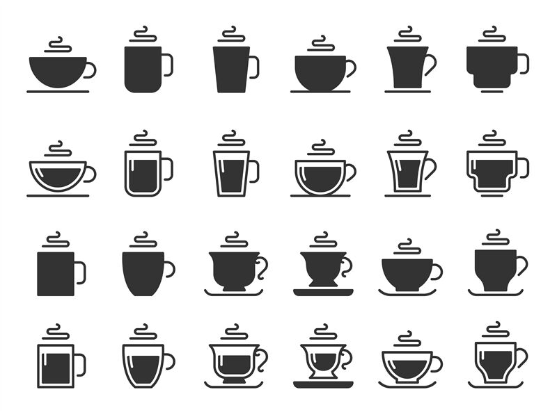 Coffee Cup Silhouette Icons Hot Drinks Cups Mug Black Stencil