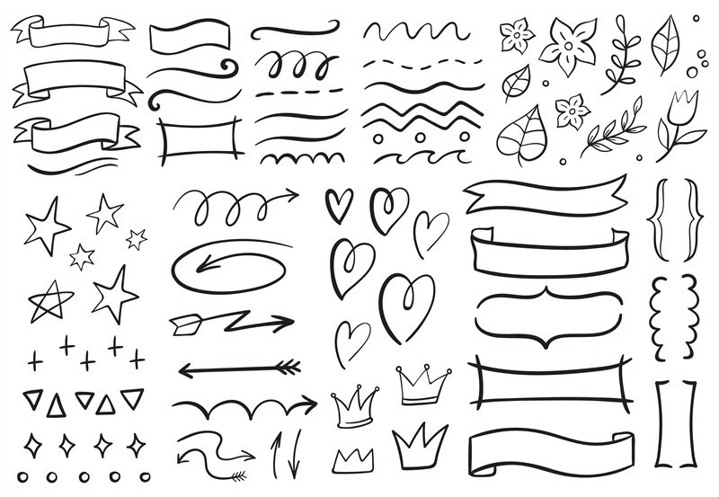 Vintage Decorative Doodles Hand Drawn Ribbon Outline Arrows And