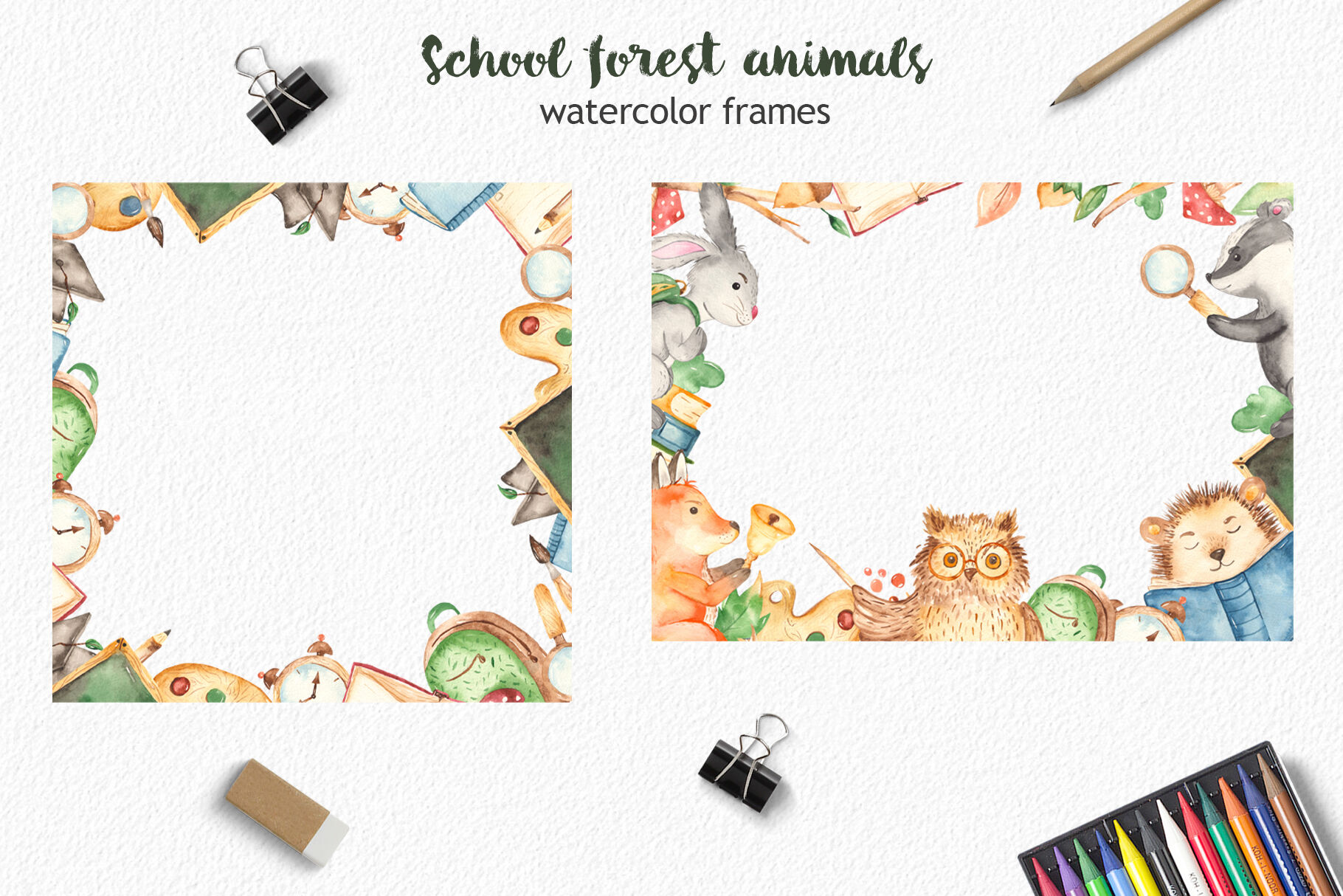 School Forest Animals Watercolor Clipart Teachers Day By Marina