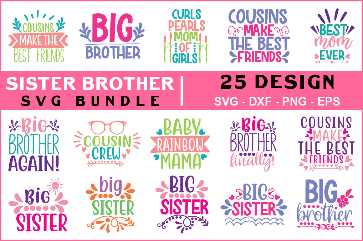 Sister Brother Svg Bundle Vol 01 By Teewinkle Thehungryjpeg Com