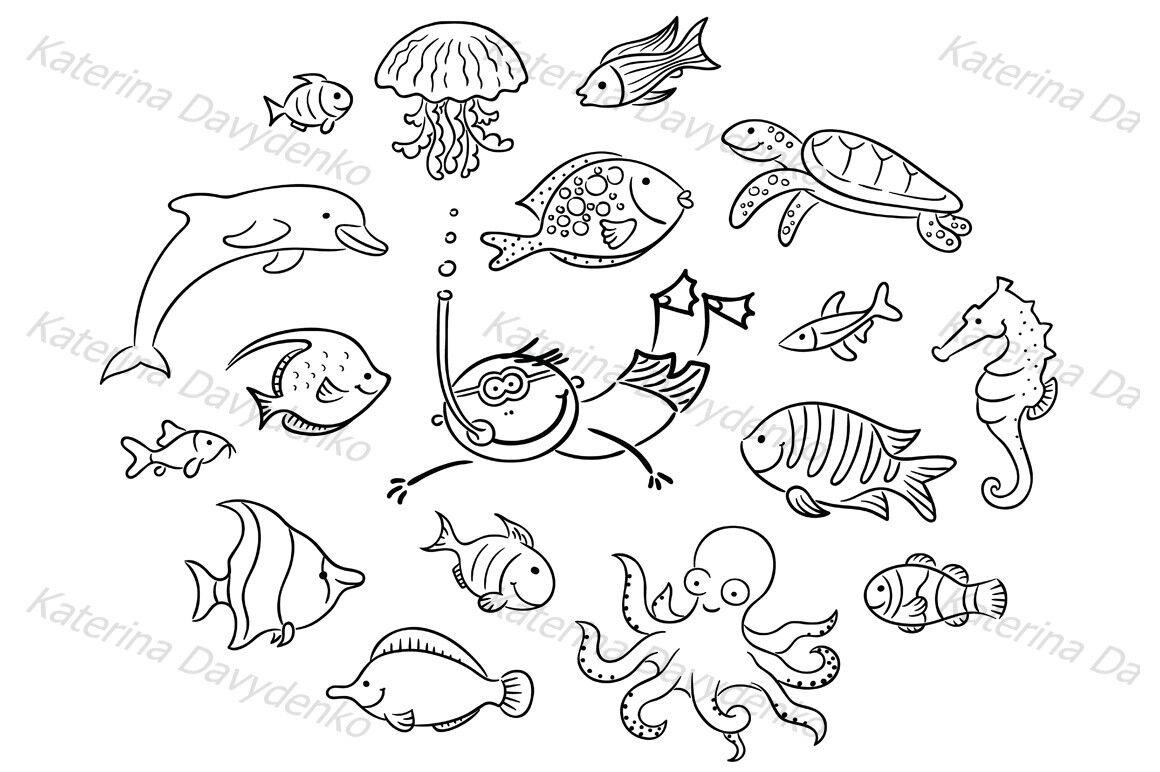 Set Of Cartoon Sea Animals Fishes By Optimistic Kids Art