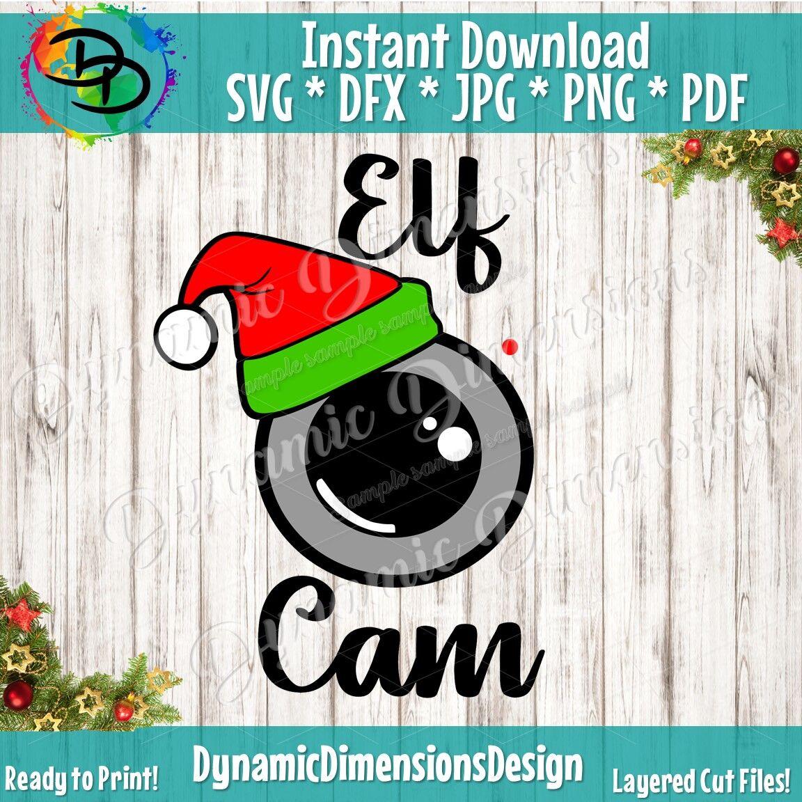 Elf Cam Svg Santa Cam Winter Svg Santa Hat Svg Elf Camera