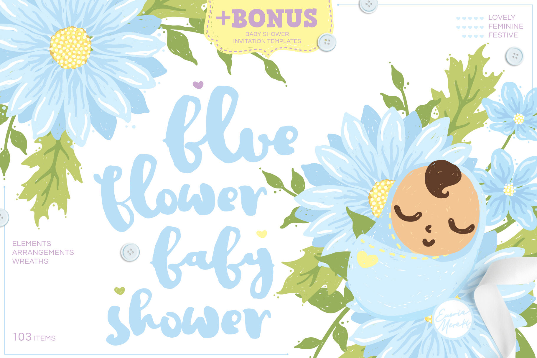 Blue Flower Baby Shower Cute Drawings Plus Invitation Templates By