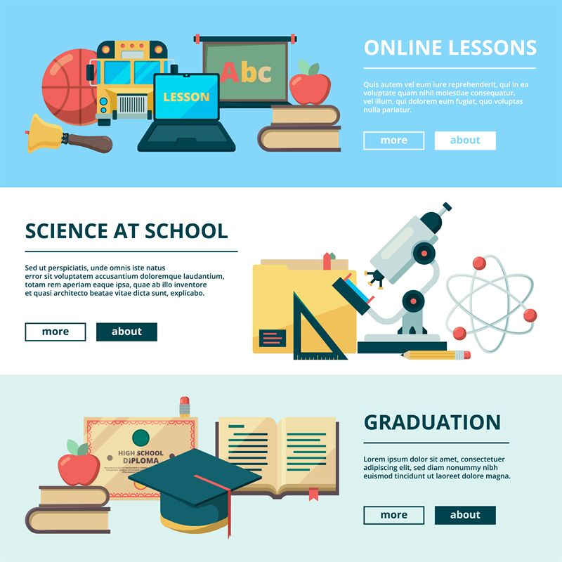 School Flat Banners Education Vector Pictures Learning School Objects By Onyx Thehungryjpeg Com