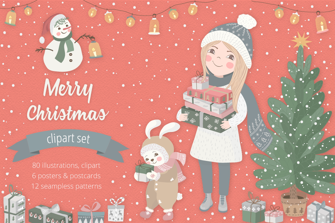 Christmas Illustrations Clip Art.Merry Christmas Illustration Set By Moving Parallels