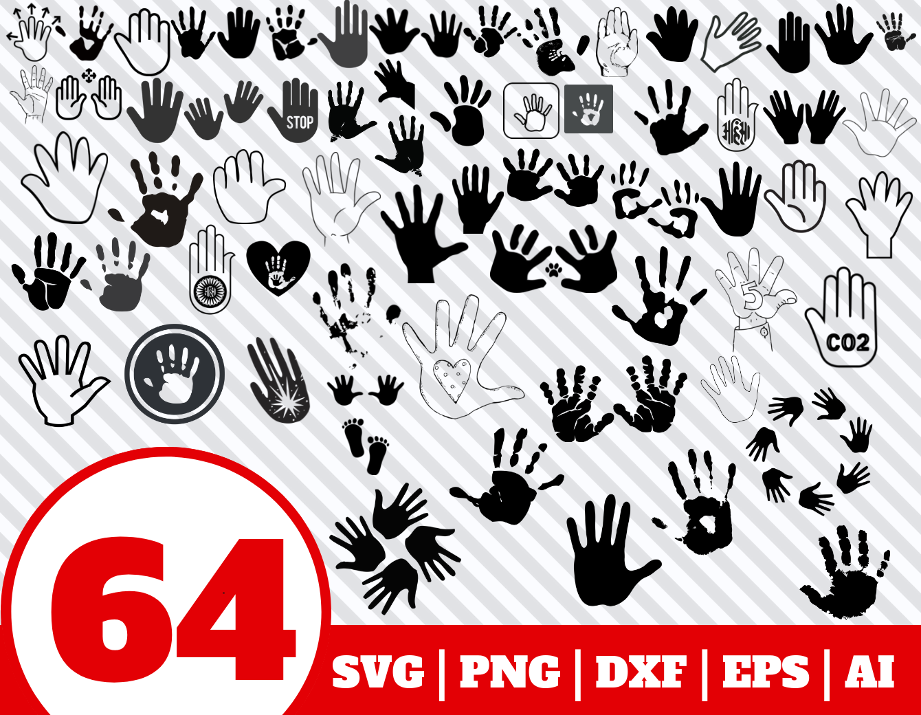 64 Hand Print Svg Bundle Hand Print Clipart Hand Print Vector