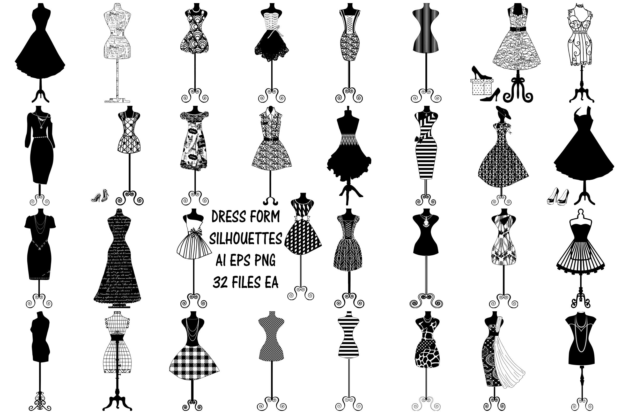 Dress Form Silhouettes Ai Eps Png By Me And Amelie Thehungryjpeg Com