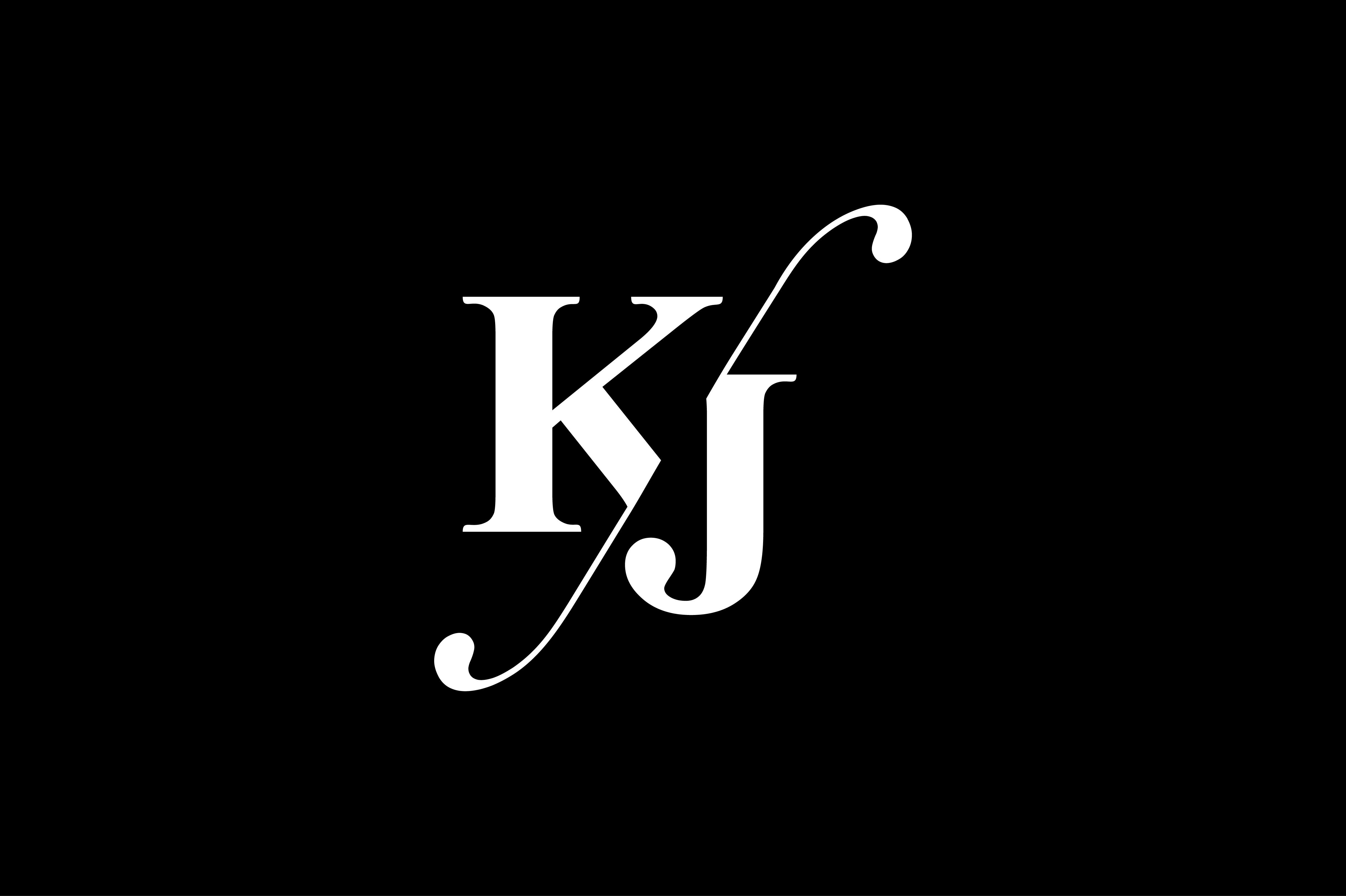 Kj Monogram Logo Design By Vectorseller Thehungryjpeg Com